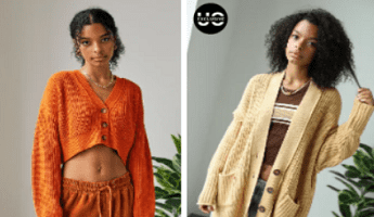 Urban Outfitters Cardigans: Cropped Orange and Oversized Beige