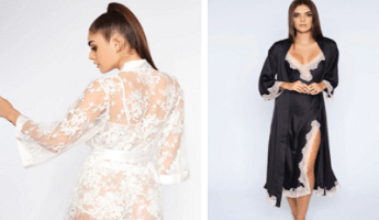 Ann Summers Robes in White Lace and Black Satin