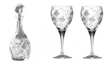 Havens crystal decanter and wine glasses