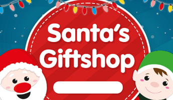 The Works Santa's Giftshop with Father Christmas and elf cartoons