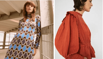 A Warehouse dress and blouse in autumnal colours